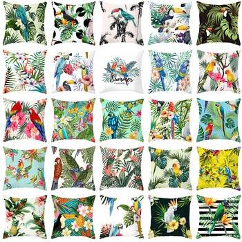 Pillow case 45*45CM Tropical Plant Parrot Bird Polyester Printed Pillowcase Home Sofa Cushion Cover Decorative