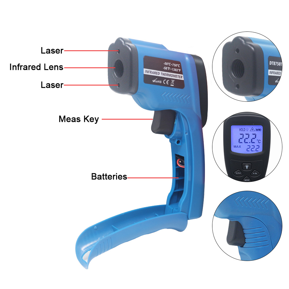 Image 5 - Digital Infrared Thermometer Non Contact IR Laser Temperature 