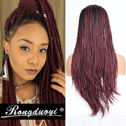 RONGDUOYI Black Red Ombre Synthetic Lace Front Wig Two Tone Color Micro Braided Wigs For Women Heat Resistant Hair Lace Wig
