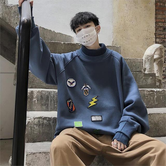 LAPPSTER Men Oversized Turtleneck Hoodies Mens Japanese Streetwear Sweatshirts Autumn Korean Harajuku Hip Hop Funny Clothes