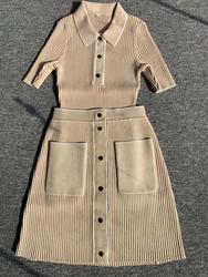 Ранняя весна вязаный свитер с коротким рукавом тонкий темно-пряжки трикотажный топ и юбка костюм весна осень трикотаж