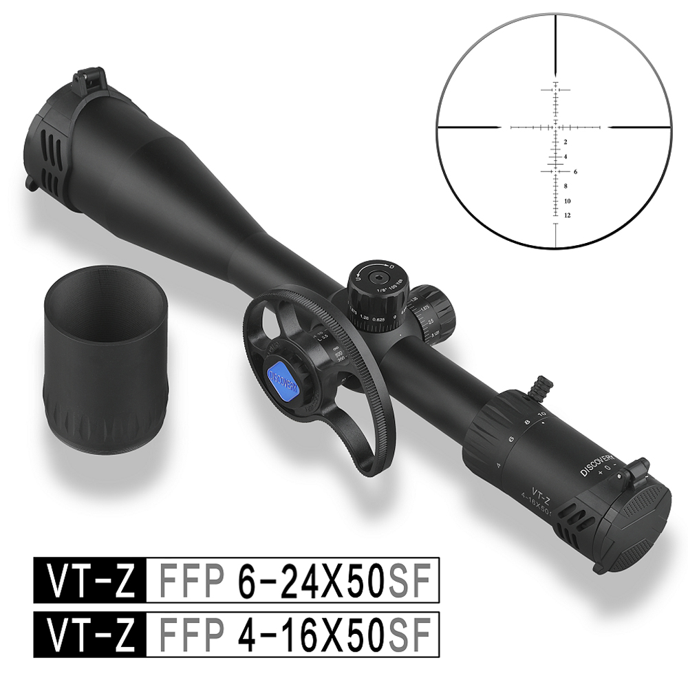 Discovery FFP 4-16X50 6-24 Airsoft Sight Tactical Hunting Rifle Scope First Focal Plane With New Involute Side Parallax Wheel