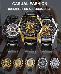 Image 2 - 勝者公式腕時計自動男性ゴールデンスケルトン機械式メンズ腕時計ブランド高級レザーストラップファッションドレス腕時計