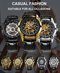 Image 2 - WINNER Official Automatic Watch Men Golden Skeleton Mechanical Mens Watches Brand Luxury Leather Strap Fashion Dress Wristwatch