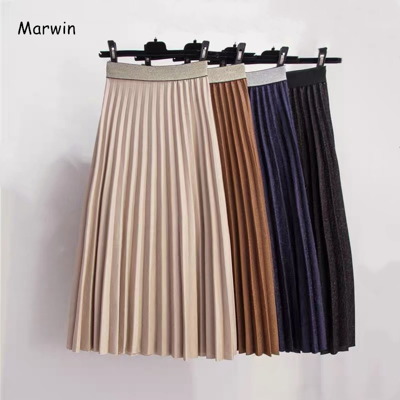 Marwin 2019 New-Coming Winter Solid A-Line Women Skirts High Street Style Mid-Calf Fashion Pleated Skirt Soft Warm Skirts