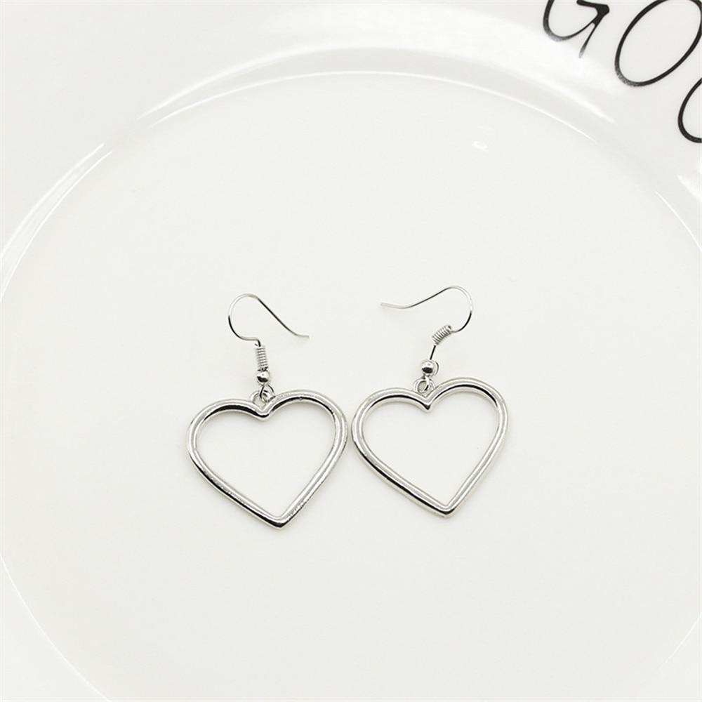 Simple Design Silver Color Hollow Heart Drop Earrings For Women New Brand Fashion Ear Cuff Piercing Dangle Earring Gift A197