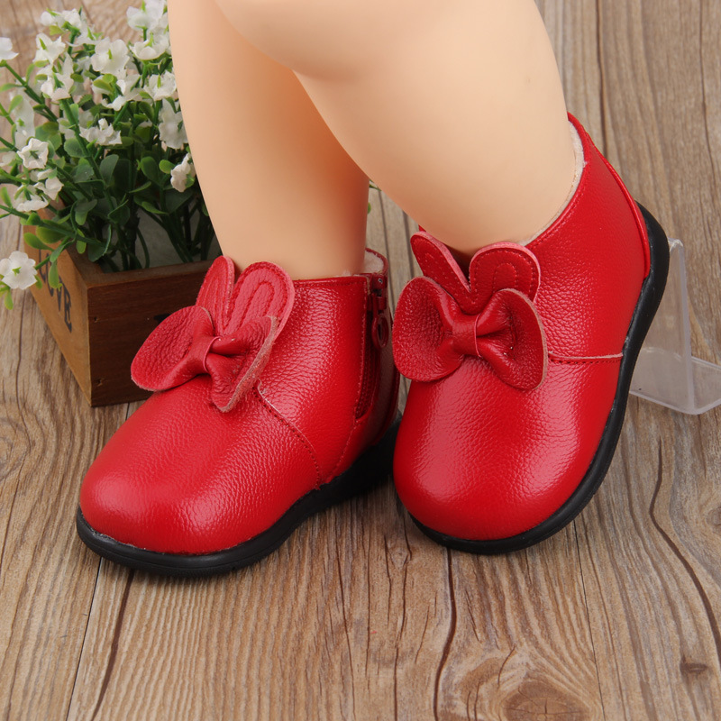 New Winter Cotton Shoes Baby Girls Toddler Shoes 1-2-3 Years Old Girls Snow Boots Genuine  Bow Leather Shoes First Walkers
