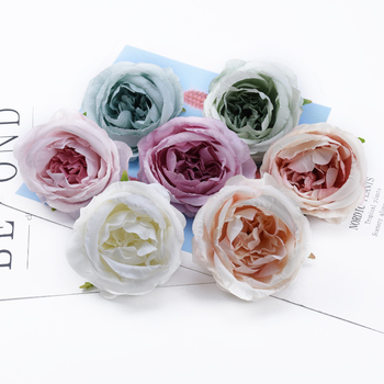 2/5/10 Pieces 7CM roses head wedding decorative flowers wreaths christmas decoration for home scrapbook cheap artificial flowers image
