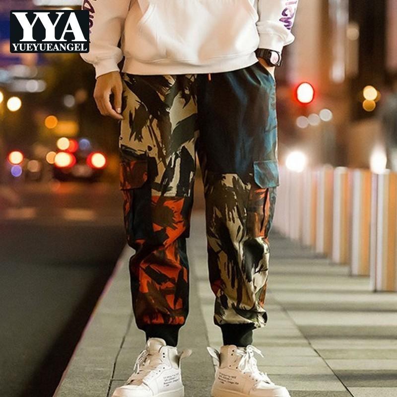 M-5XL Men Harem Pants Plus Size Streetwear Camo Pants Hip Hop Mens Sweatpants Print Pocket Elastic Waist Cotton Male Trousers