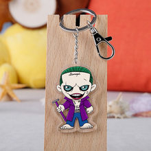 Class Movie Suicide Squad Harley Quinn Keychain Boy Girl Acrylic Pendant Key Ring Jewelry(China)