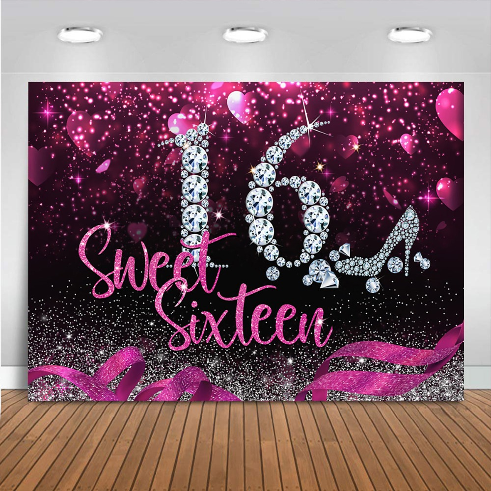 Yeele Purple 18th Birthday Backdrop for Party 7x5ft Girl Diamond Silver High Heel Glitter Sequins Sweet Photography Background Fashion Girl Daughter Happy 18 Birthday Banner for Photoshoot Props