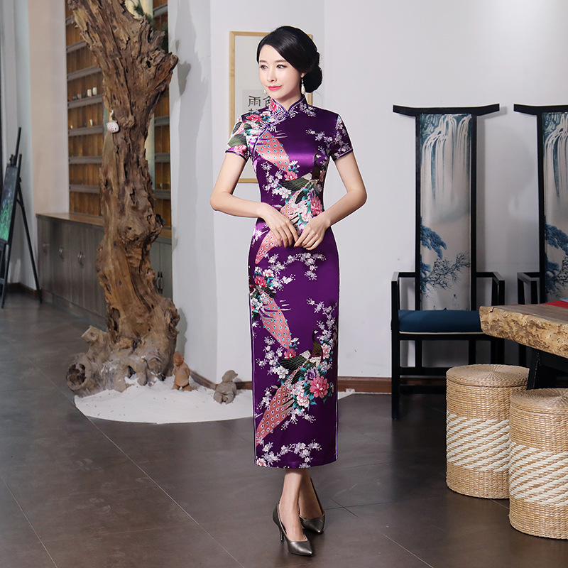 Ancient <font><b>Chinese</b></font> Traditional <font><b>Dress</b></font> Cheongsam Vintage Women Long Qipao Peacock Evening Split Party Gowns <font><b>Sexy</b></font> Vestidos New image
