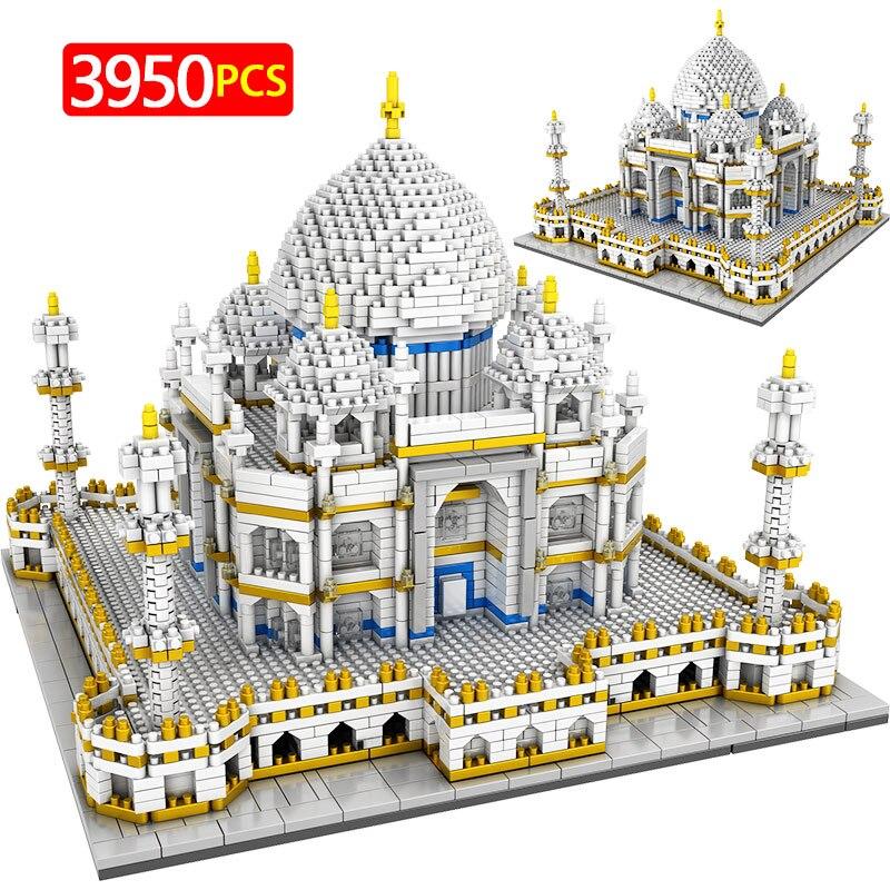 3950 pcs brinquedos para criancas criador mini blocos mundialmente famosos arquitetura taj mahal 3d modelo blocos