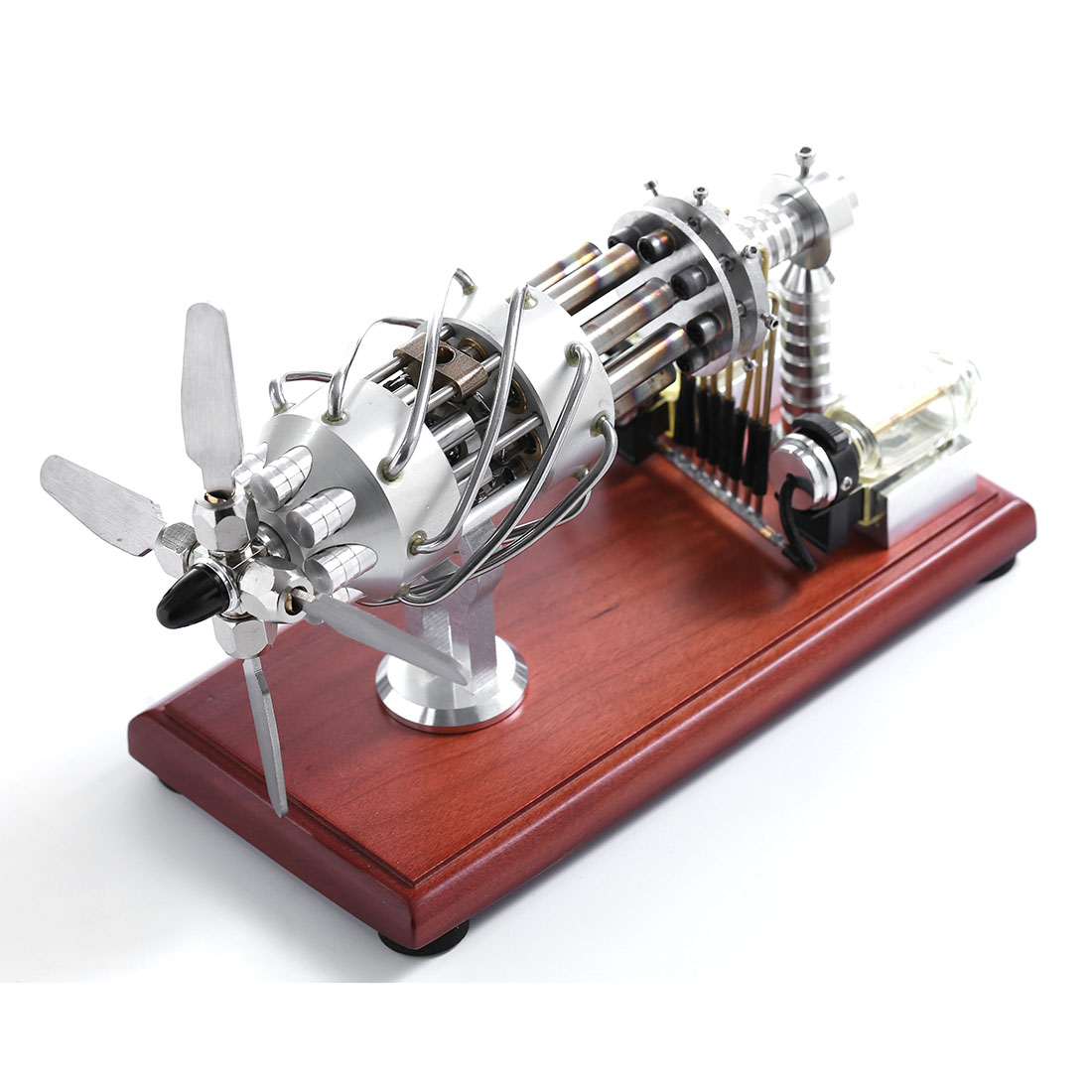 Surwish 16 Cylinders Swash Plate Hot-Air Stirling Engine Model DIY Scinece Remote For Boys Adult Gifts Valentines 2020 Silver