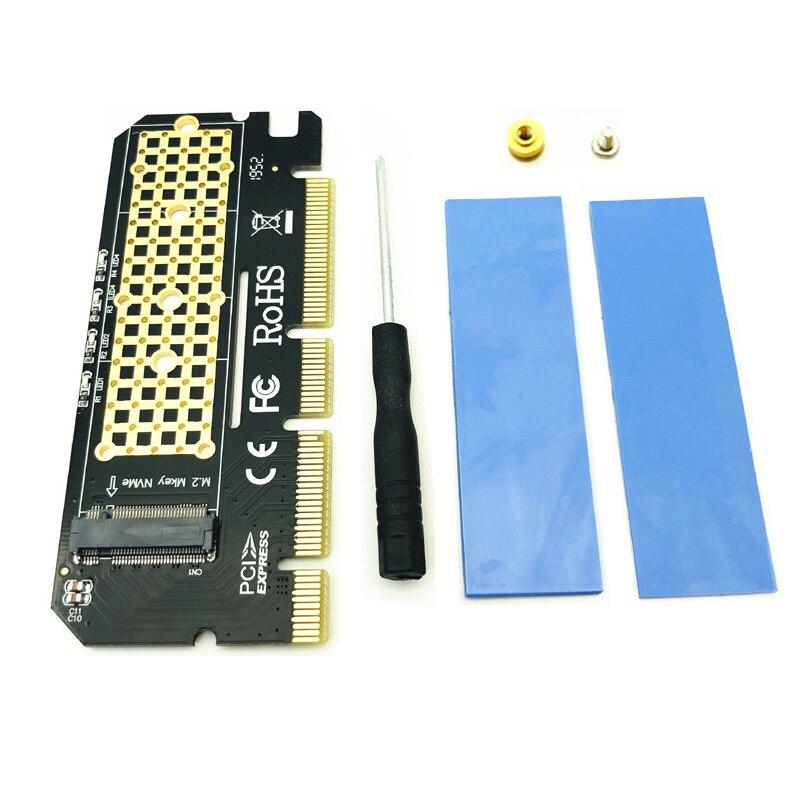 M.2 SSD PCIE Adaptador Adaptador de Interface de Computador Placa de Expansão Escudo Da Liga de Alumínio LED M.2 NVMe SSD NGFF PCIE 3.0X16 Riser