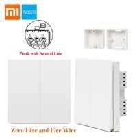 Freies Geschenk Xiaomi Aqara Smart Licht Control Feuer Draht Null Linie Doppel Einzigen Schlüssel ZiGBee Wand Schalter 2 Version Mijia APP Control