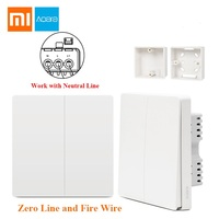Free Gift Xiaomi Aqara Smart Light Control Fire Wire Zero Line Double Single Key ZiGBee Wall Switch 2 Version Mijia APP Control