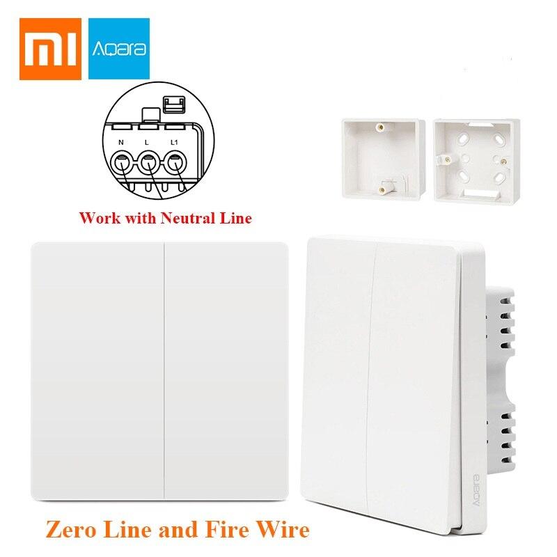 Presente gratuito xiaomi aqara inteligente controle de luz fio fogo zero linha dupla única chave zigbee interruptor parede 2 versão mijia controle app