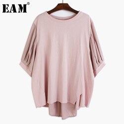 [EAM] женская шифоновая футболка, синий шифон, большие размеры, круглый вырез, три четверти рукава, весна-лето 2020 1T092