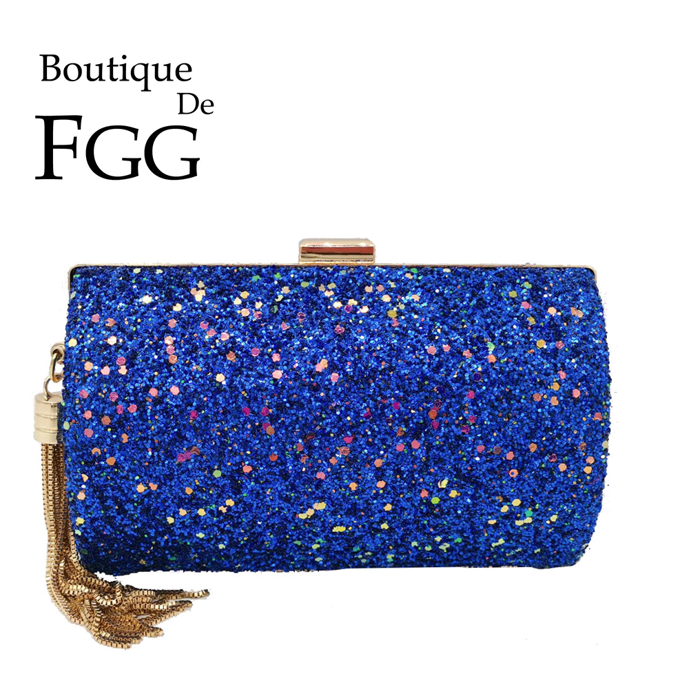 Boutique De FGG Blue Glitter Tassel Women Evening Bags And Clutches Gala Dinner Ladies Metal Clutch Handbags And Purses