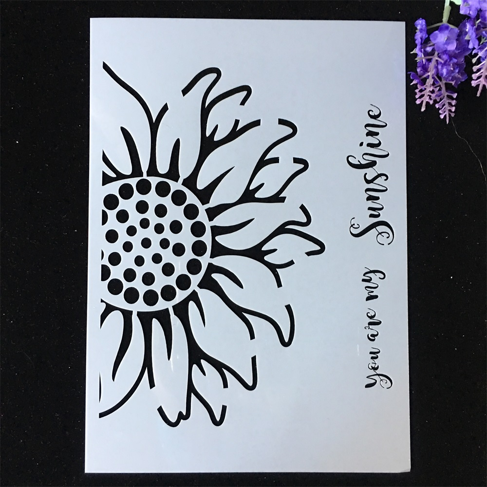 1Pcs A4 29*21cm Half Sunflower DIY Layering Stencils Painting Scrapbook Coloring Embossing Album Decorative Card Template