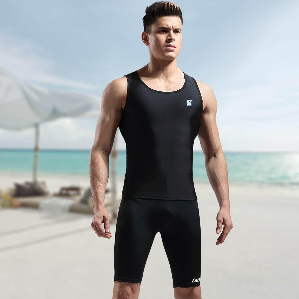 Men Industry Tops Tight Sun-resistant Quick-Dry Swimming Shorts Set Split Type Boxer Goggles Swimming Cap Swimming Bag Fashion