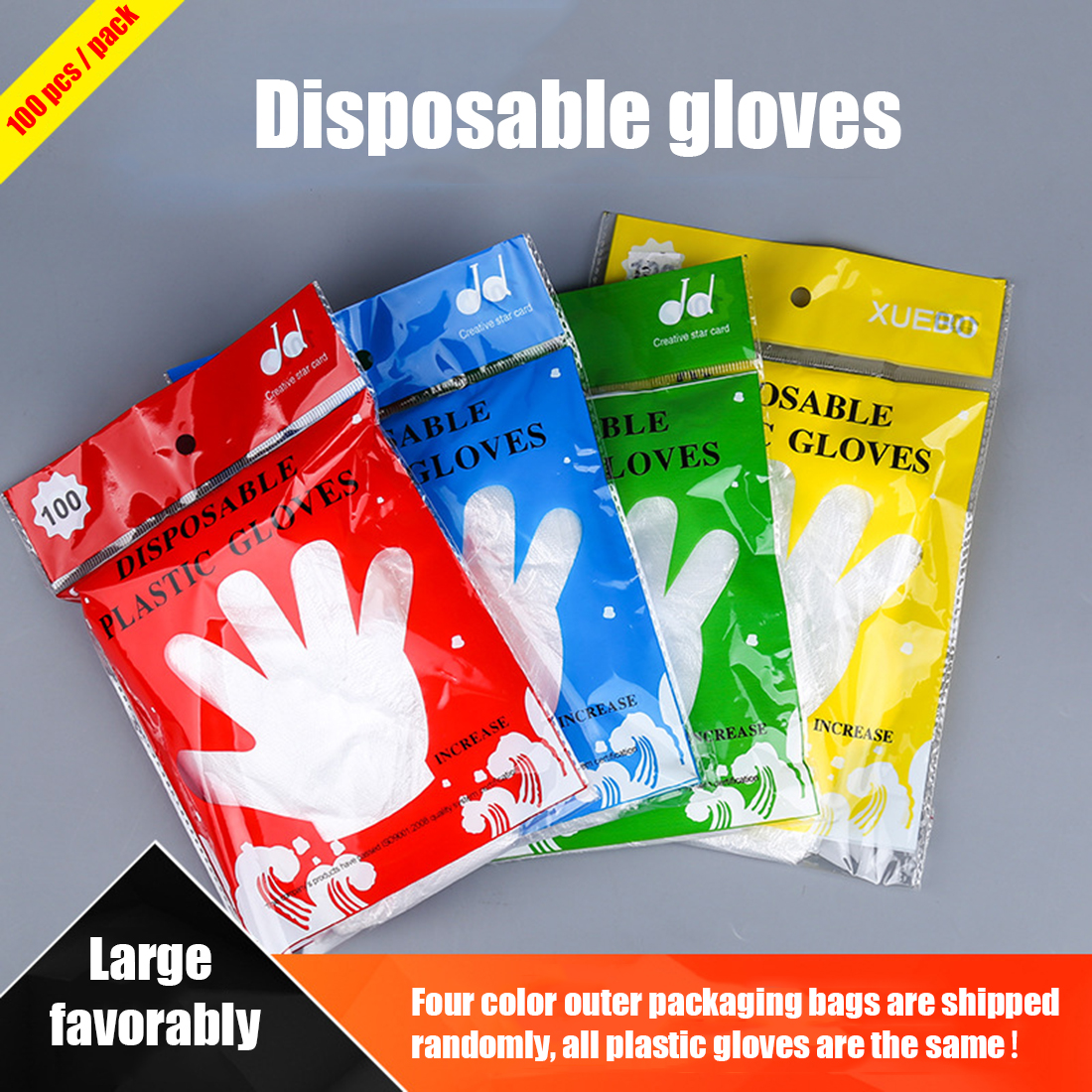 1000 Pcs Catering Disposable Plastic Gloves Large Food Grade Transparent For Kitchen Cooking Cleaning Outdoor Activities