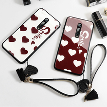 Case & Strap For Xiaomi Redmi K20 Pro s2 Case Glass Hard Phone Back Cover For Xiaomi Redmi K20 S2 Red Smile Heart lanyard funda makibes s2 replacement strap red