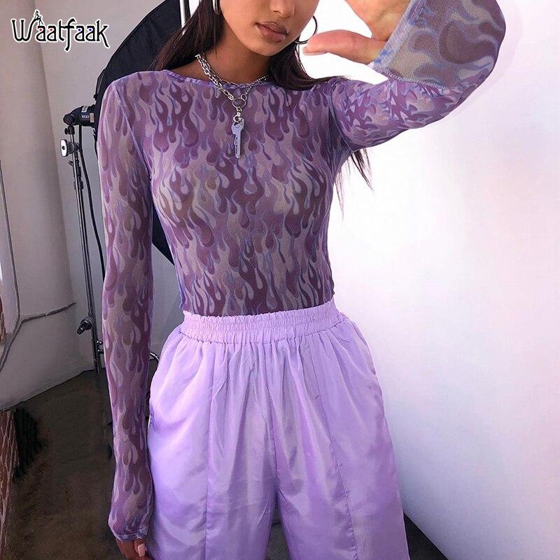 Waatfaak Printed Transparent Mesh Bodysuit Long Sleeve Purple Sexy Bodysuit Skinny Streetwear Ladies Body Long Sleeves O Neck