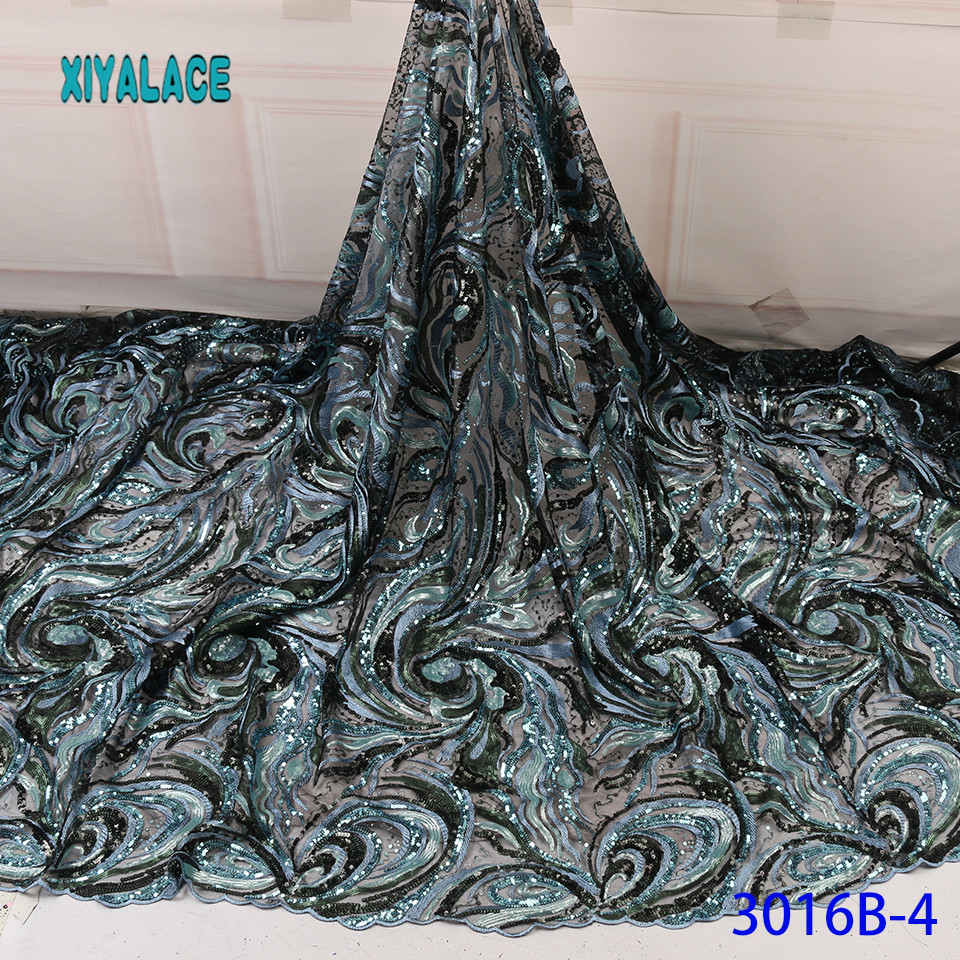 Latest French Green Lace Fabric 2019 African Lace Fabric Voile Lace For Wedding Party Floral Sequins Nigerian Lace YA3016B-4