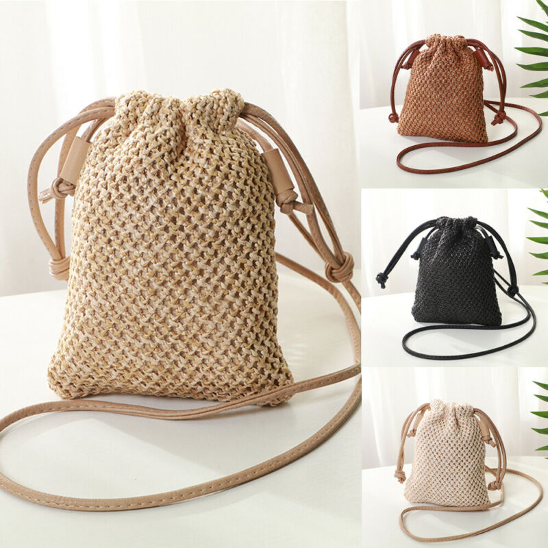 Women Girl Bohemian Straw Woven Bag Rattan Wicker Handbag Beach Bag Crossbody Bags New /BY