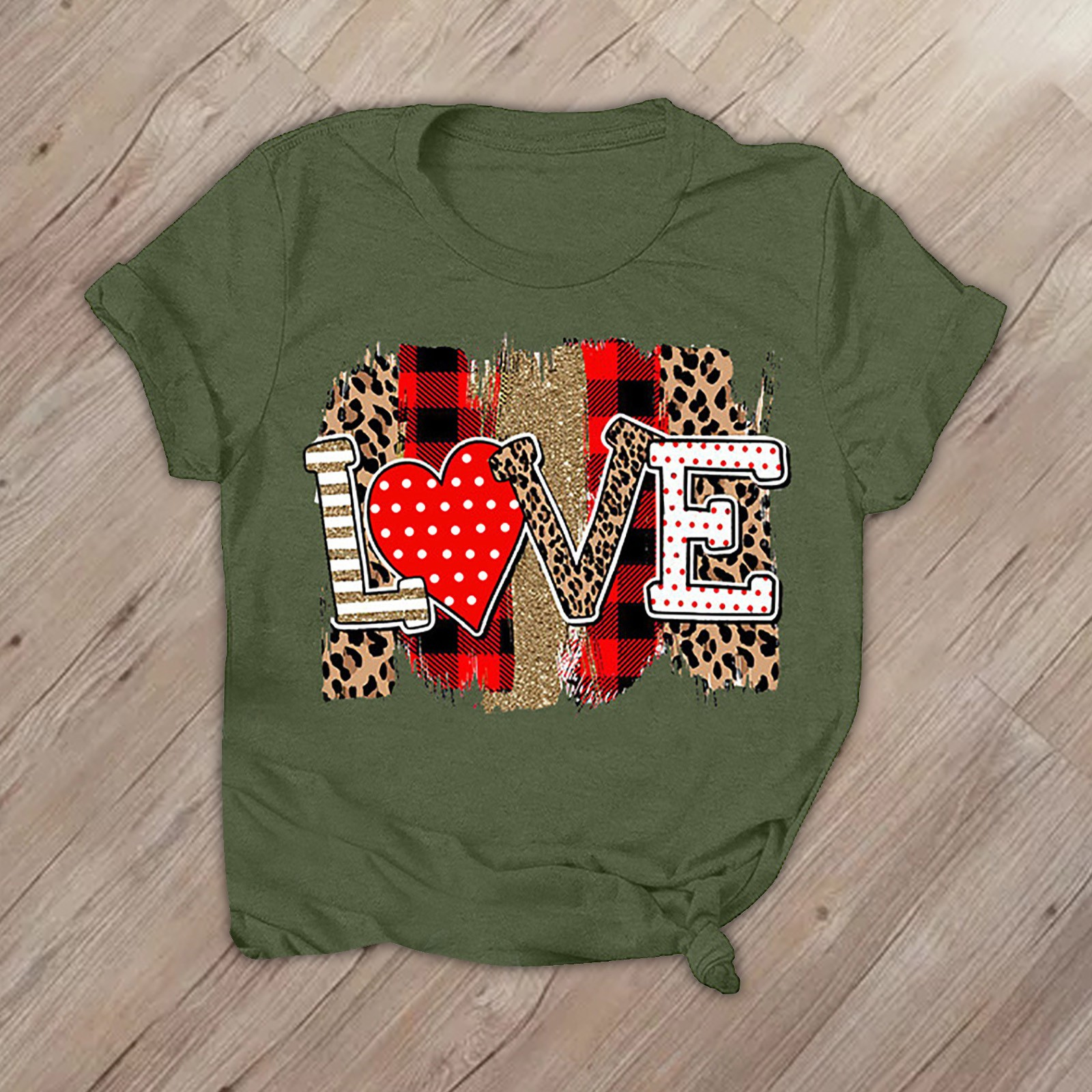 T-Shirt Fashion Valentine's-Day Short-Sleeves Top Summer Soft Love-Letters Women Print