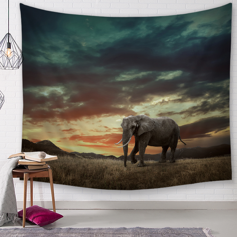African Tropical Jungle Animals Wall Tapestry Picnic Beach Sheet Bedspread Decor