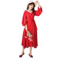 Новое Женское длинное платье с длинным рукавом с сборкой талии продано более 120 платьев красный 8129