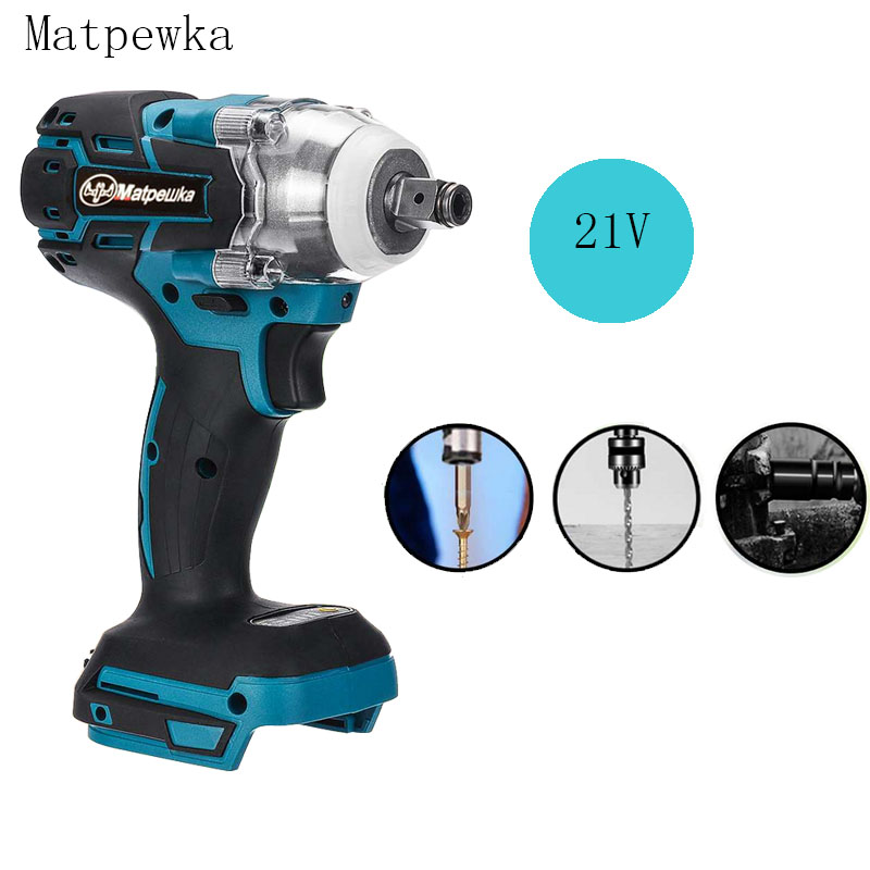21V Electric Brushless Impact Wrench, Rechargeable 1/2 Socket Wrench, Power Tool, No Battery, No Accessories