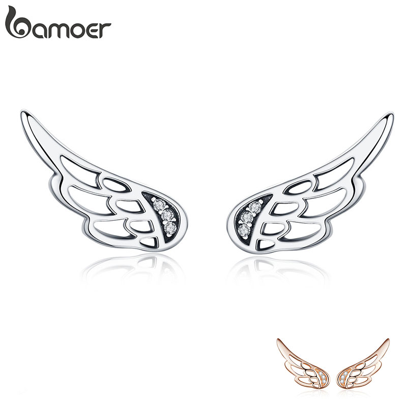 BAMOER Genuine 925 Sterling Silver Feather Fairy Wings Stud Earrings Silver for Women Fashion Silver Jewelry Christmas SCE343(China)