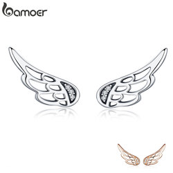 Bamoer genuíno 925 prata esterlina pena asas de fadas brincos de prata para as mulheres moda jóias de prata natal sce343