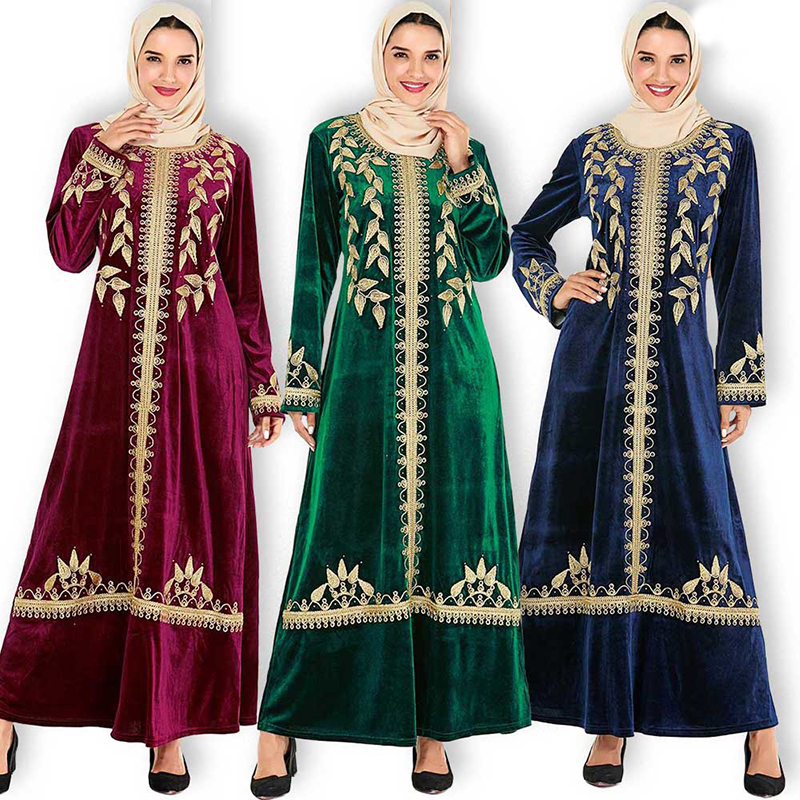 Plus Size Winter Velvet Abaya Dubai Turkish Hijab Muslim Dress Islamic Clothing Abayas For Women Caftan Moroc Kaftan Robe Islam