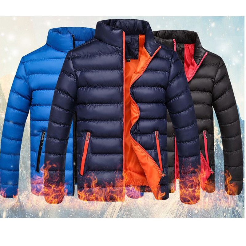 Hot Men Slim Fit Cotton Winter Autumn Jacket Men Windbreaker Solid  Windproof Zipper Overcoat Male Fashion Warm Parka 2020