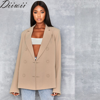 DiiWii Hot Selling Womens New Solid Color Double Breasted Blazer
