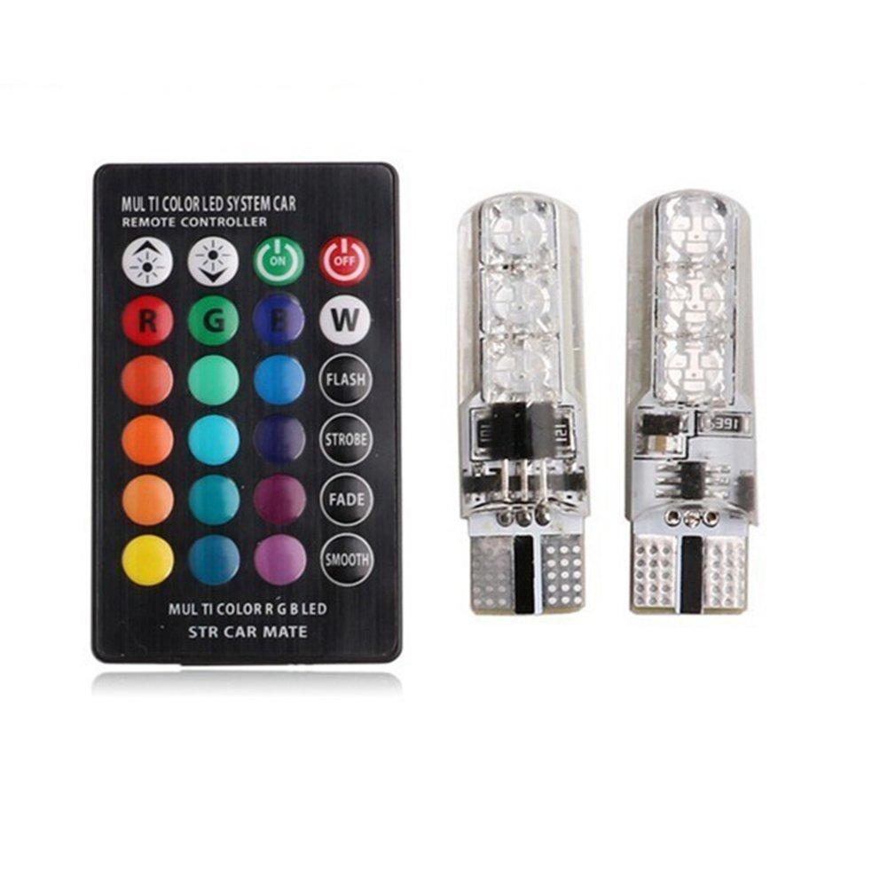 Remote Control Interior RGB LED Show Wide Light 6 SMD 5050 Super Bright Lamp Bulb Universal Auto Interior Lamp Light