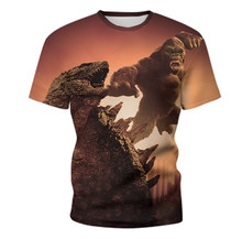 Monster King Kong graphic print T-shirt men's hip-hop style O-neck clothing 3DT shirt movie image 2021 summer new style hot sale