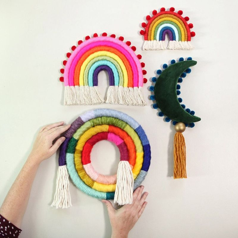 Nordic Style Children Room Home Decoration Simple Rainbow Disc Wall Hanging Ornament Cotton Thread Hand-woven Photography Props