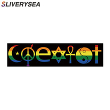 SLIVERYSEA 20CM*5CM Personality Style COEXIST Rainbow Car Sticker and Decal PVC