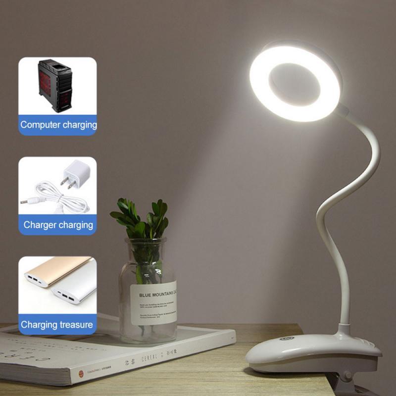 Escritorio, lámparas de Clip recargable LED de lectura anillo lámpara de mesa de dormitorio de los niños de aprendizaje de los estudiantes Lámpara de Mesa táctil