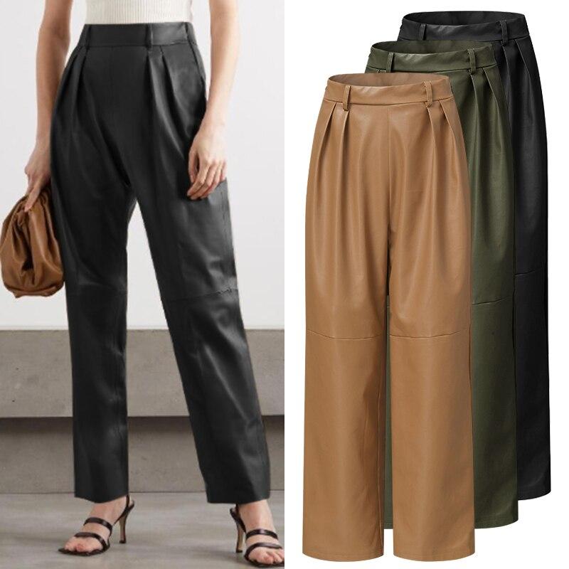 Oversized Pants Celmia Women Autumn Winter PU Leather Trouser 2021 Fashion High Waist Female Casual Solid Palazzo Streetwear 5XL