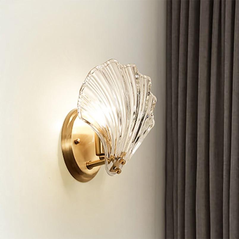 Novo 2019 Luxo Cristal Shell Luxo Ouro Lâmpada de Parede de Vidro Luzes Lâmpadas LED Luz do Quarto Sala de estar Iluminação Interior Luminárias