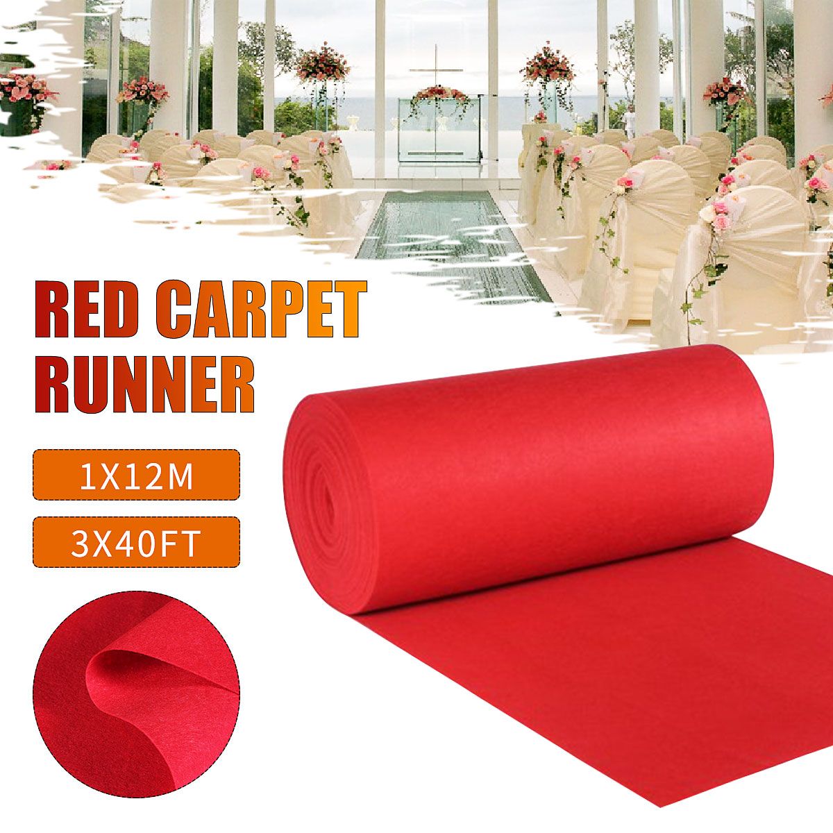 Large Red Carpet Wedding Aisle Floor Runner Outdoor Hollywood Party Decoration Banquet Celebration Event Reward Carpet 12x1M