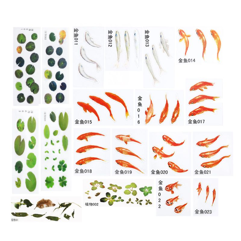 19 Pcs/set 3D Goldfish Duckweed Epoxy Filler Stickers Handmade DIY Jewelry Making Resin Painting Filling Material