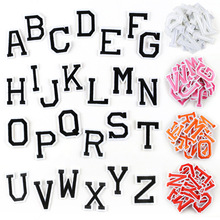 Black white English Alphabet Iron on Patches for Clothing Stickers Stripes Appliques Clothes Embroidery Words Letters Badges